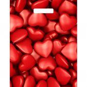 Пакет с выруб. ручкой глянец сердечки 31 см х 40 см