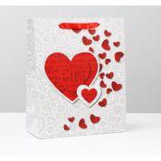 Пакет подарочный Сердце ламинированный 26х32х12 см